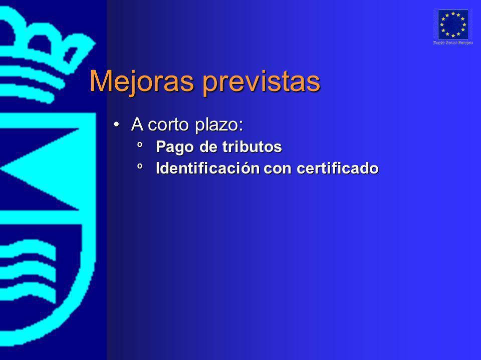 Mejoras previstas A corto plazo:A corto plazo: º Pago de tributos º Identificación con certificado
