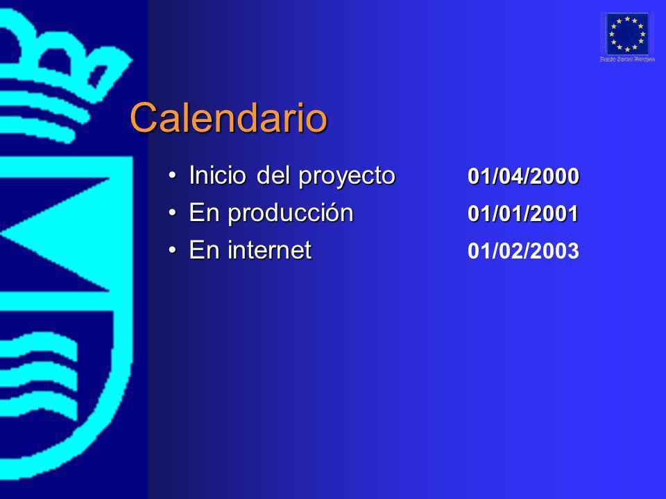 Calendario Inicio del proyecto 01/04/2000Inicio del proyecto 01/04/2000 En producción 01/01/2001En producción 01/01/2001 En internetEn internet 01/02/
