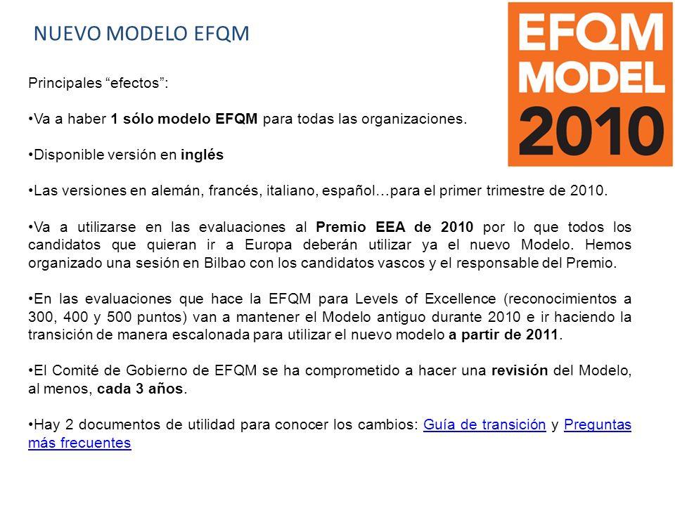 NUEVO MODELO EFQM Principales efectos: Va a haber 1 sólo modelo EFQM para todas las organizaciones.