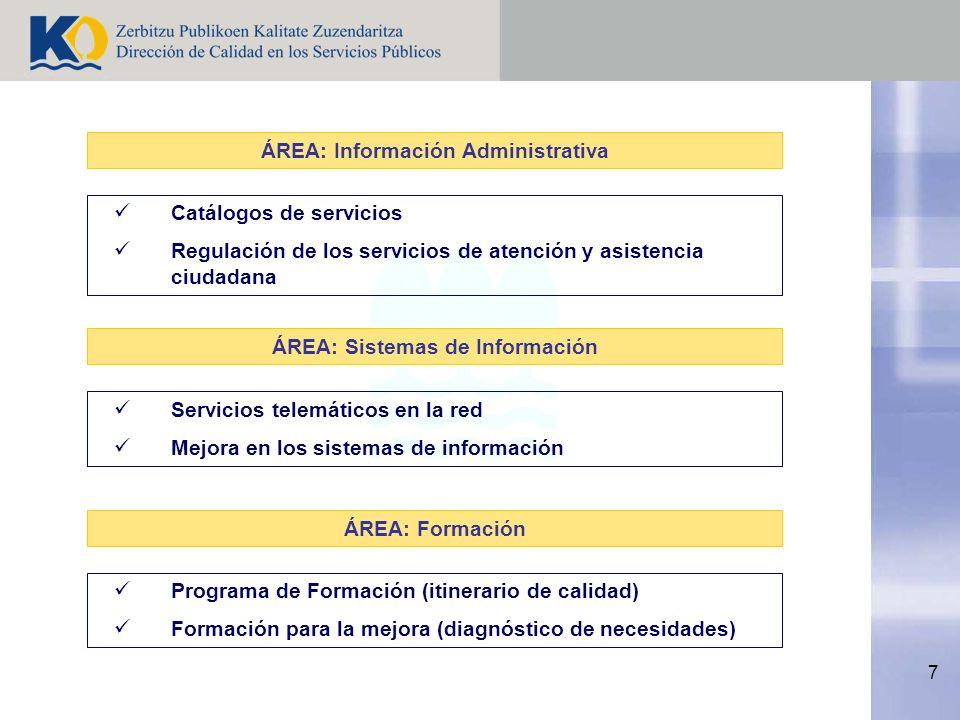 7 Catálogos de servicios Regulación de los servicios de atención y asistencia ciudadana ÁREA: Información Administrativa Servicios telemáticos en la red Mejora en los sistemas de información ÁREA: Sistemas de Información Programa de Formación (itinerario de calidad) Formación para la mejora (diagnóstico de necesidades) ÁREA: Formación