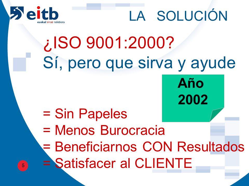 LA SOLUCIÓN 5 ¿ISO 9001:2000.