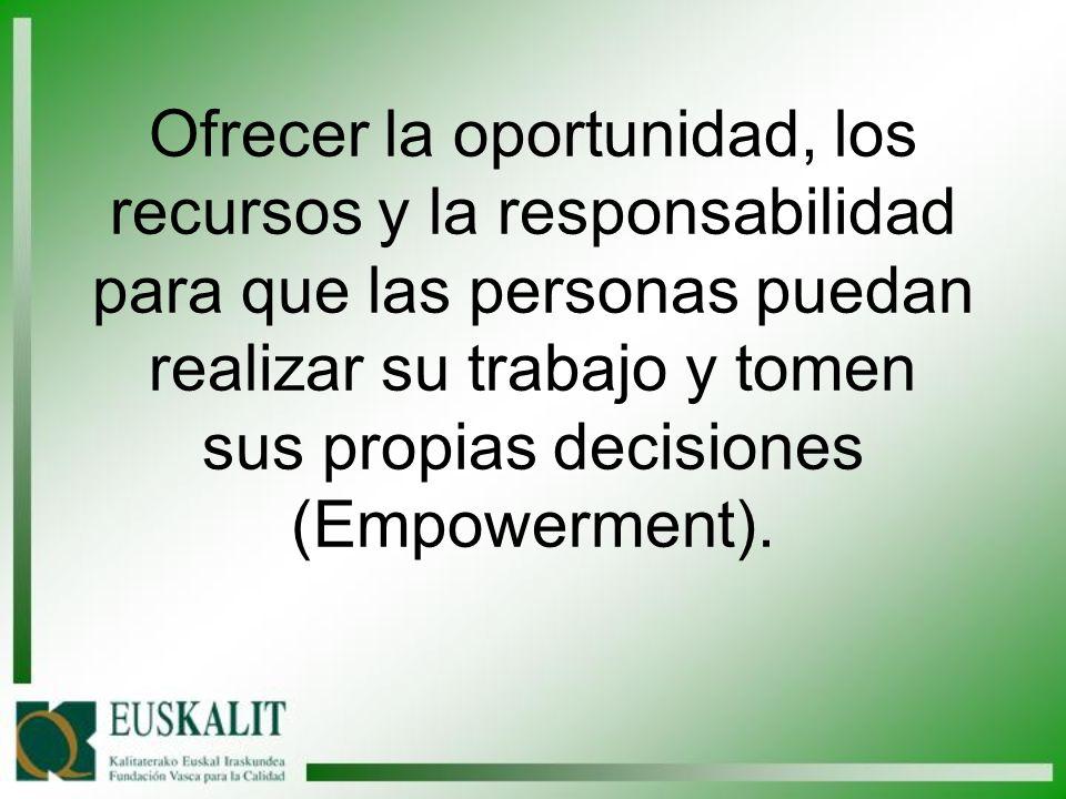 Ofrecer la oportunidad, los recursos y la responsabilidad para que las personas puedan realizar su trabajo y tomen sus propias decisiones (Empowerment