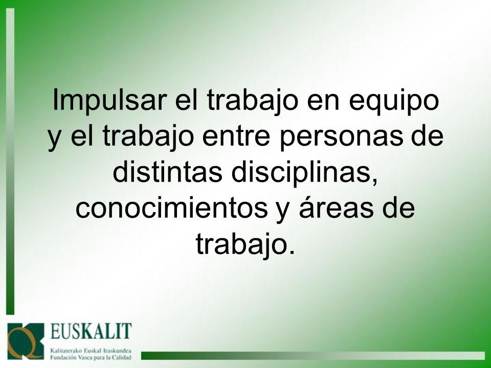 Impulsar el trabajo en equipo y el trabajo entre personas de distintas disciplinas, conocimientos y áreas de trabajo.