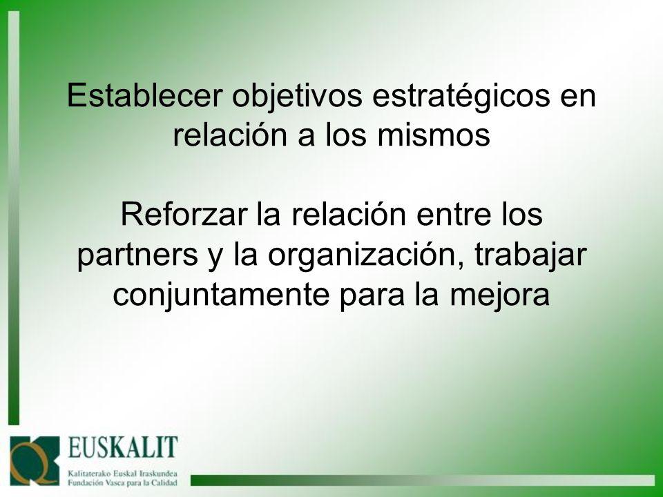 Establecer objetivos estratégicos en relación a los mismos Reforzar la relación entre los partners y la organización, trabajar conjuntamente para la m
