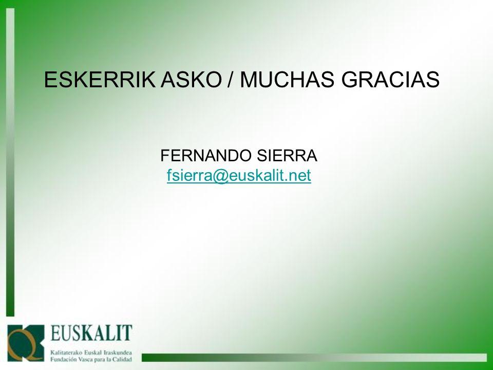 ESKERRIK ASKO / MUCHAS GRACIAS FERNANDO SIERRA fsierra@euskalit.net fsierra@euskalit.net