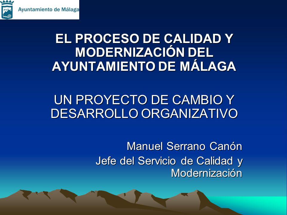 EL PROCESO DE CALIDAD Y MODERNIZACIÓN DEL AYUNTAMIENTO DE MÁLAGA UN PROYECTO DE CAMBIO Y DESARROLLO ORGANIZATIVO Manuel Serrano Canón Jefe del Servici
