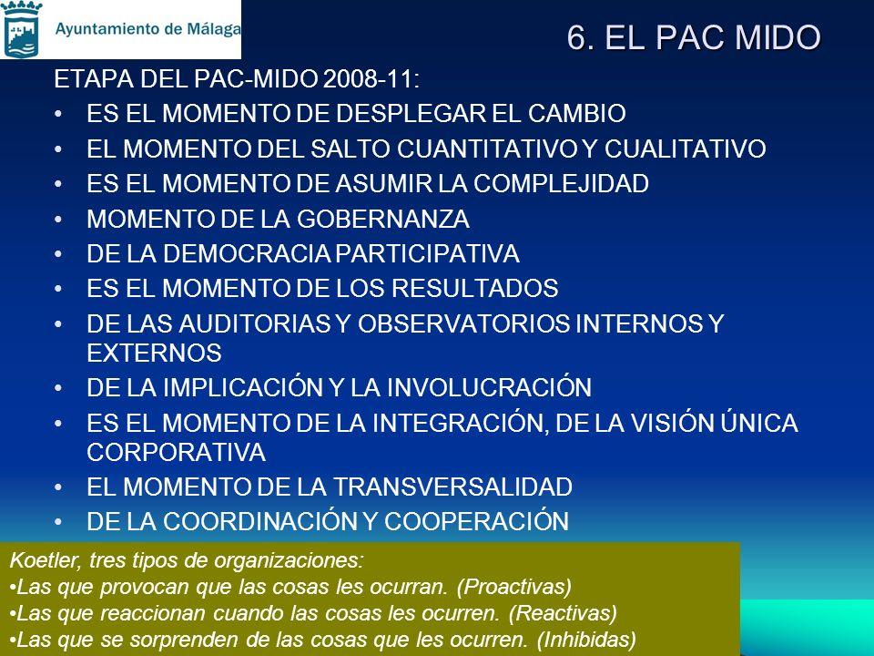 6. EL PAC MIDO ETAPA DEL PAC-MIDO 2008-11: ES EL MOMENTO DE DESPLEGAR EL CAMBIO EL MOMENTO DEL SALTO CUANTITATIVO Y CUALITATIVO ES EL MOMENTO DE ASUMI