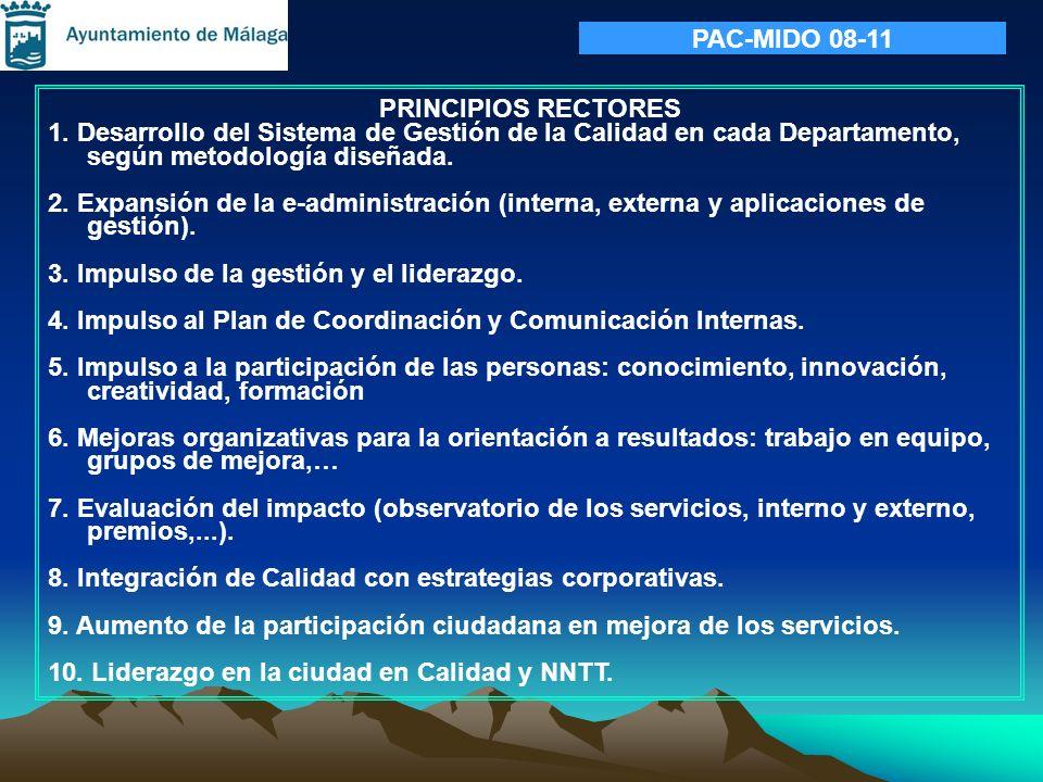PRINCIPIOS RECTORES 1. Desarrollo del Sistema de Gestión de la Calidad en cada Departamento, según metodología diseñada. 2. Expansión de la e-administ