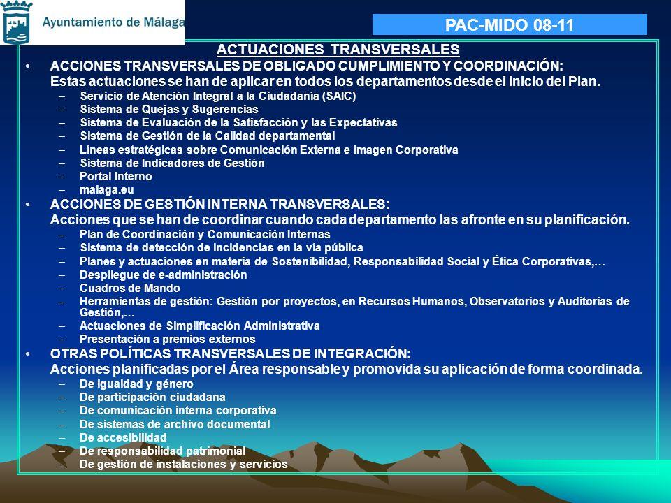 PAC-MIDO 08-11 ACTUACIONES TRANSVERSALES ACCIONES TRANSVERSALES DE OBLIGADO CUMPLIMIENTO Y COORDINACIÓN: Estas actuaciones se han de aplicar en todos