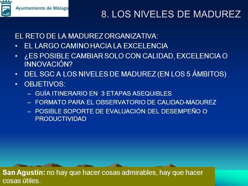 8. LOS NIVELES DE MADUREZ EL RETO DE LA MADUREZ ORGANIZATIVA: EL LARGO CAMINO HACIA LA EXCELENCIA ¿ES POSIBLE CAMBIAR SOLO CON CALIDAD, EXCELENCIA O I