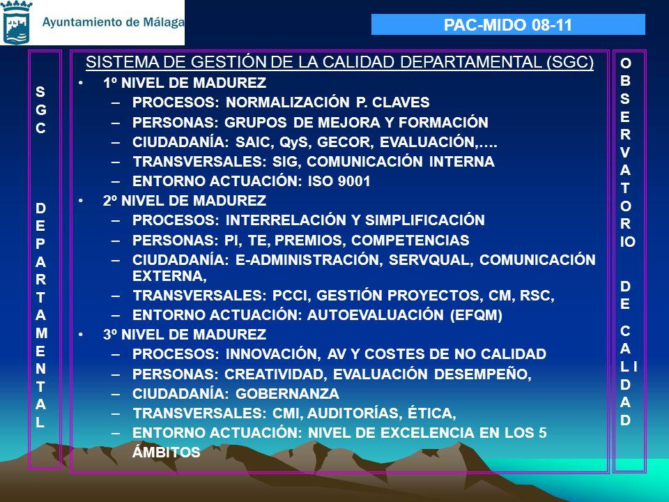 SISTEMA DE GESTIÓN DE LA CALIDAD DEPARTAMENTAL (SGC) 1º NIVEL DE MADUREZ –PROCESOS: NORMALIZACIÓN P. CLAVES –PERSONAS: GRUPOS DE MEJORA Y FORMACIÓN –C