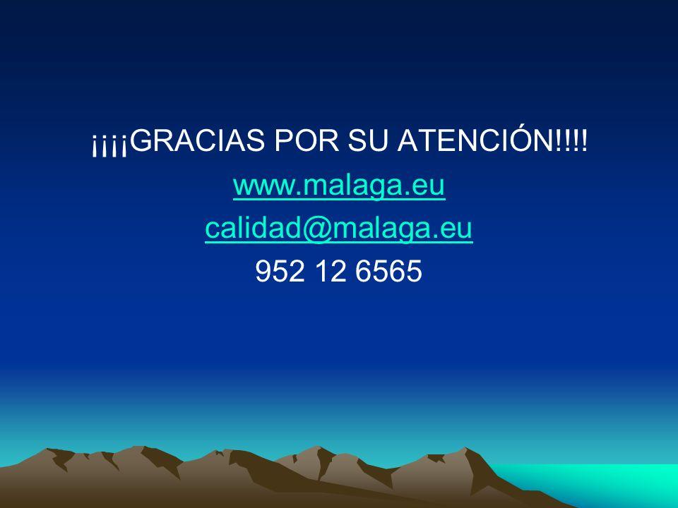 ¡¡¡¡GRACIAS POR SU ATENCIÓN!!!! www.malaga.eu calidad@malaga.eu 952 12 6565