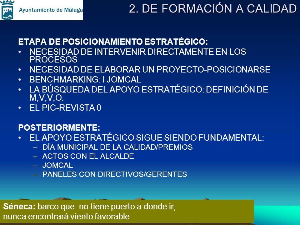 2. DE FORMACIÓN A CALIDAD ETAPA DE POSICIONAMIENTO ESTRATÉGICO: NECESIDAD DE INTERVENIR DIRECTAMENTE EN LOS PROCESOS NECESIDAD DE ELABORAR UN PROYECTO