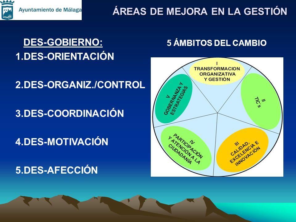 ÁREAS DE MEJORA EN LA GESTIÓN DES-GOBIERNO: 1.DES-ORIENTACIÓN 2.DES-ORGANIZ./CONTROL 3.DES-COORDINACIÓN 4.DES-MOTIVACIÓN 5.DES-AFECCIÓN 5 ÁMBITOS DEL