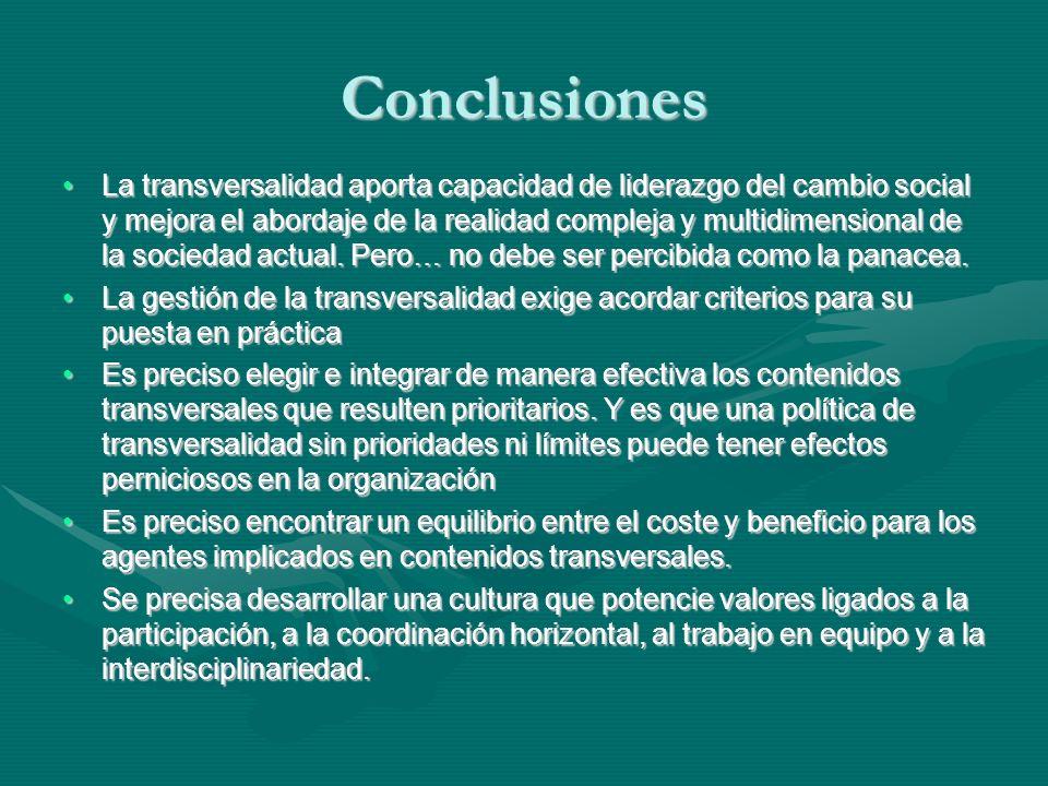 Conclusiones La transversalidad aporta capacidad de liderazgo del cambio social y mejora el abordaje de la realidad compleja y multidimensional de la