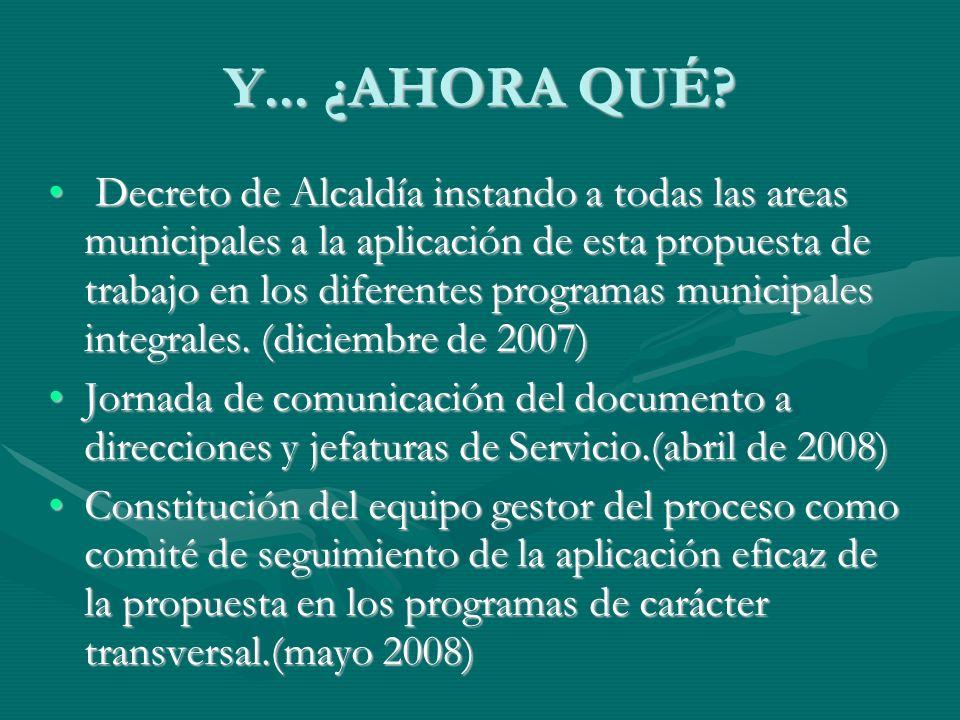 Y... ¿AHORA QUÉ? Decreto de Alcaldía instando a todas las areas municipales a la aplicación de esta propuesta de trabajo en los diferentes programas m