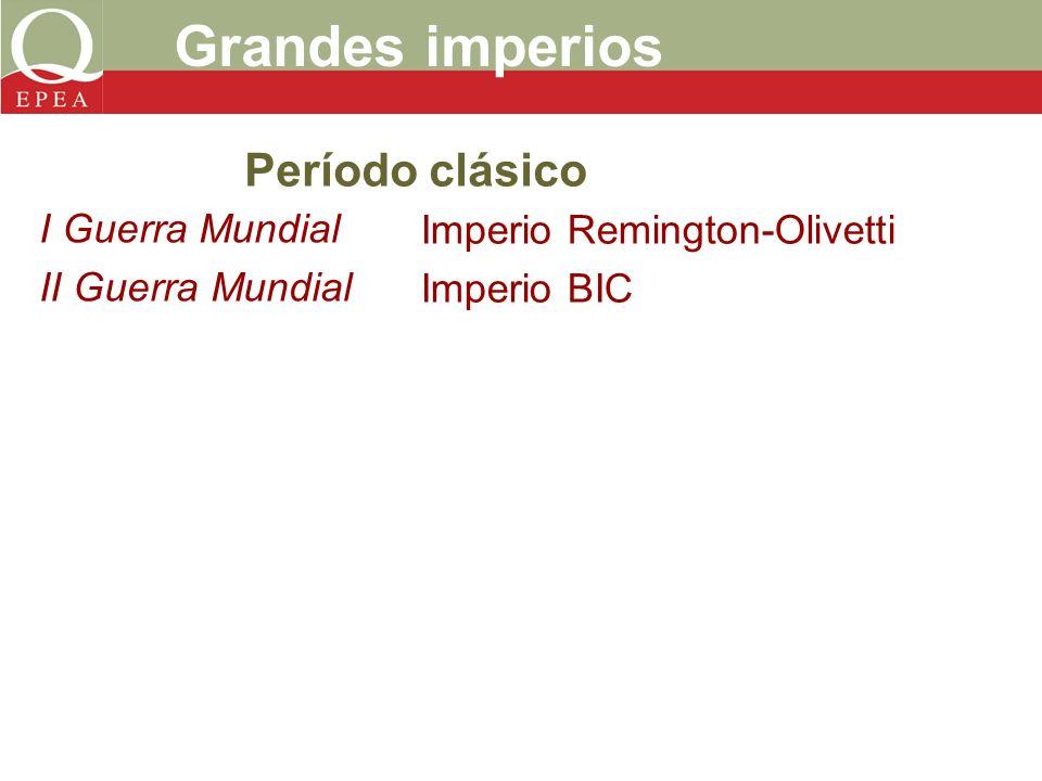 I Guerra Mundial II Guerra Mundial Grandes imperios Imperio Remington-Olivetti Imperio BIC Período clásico