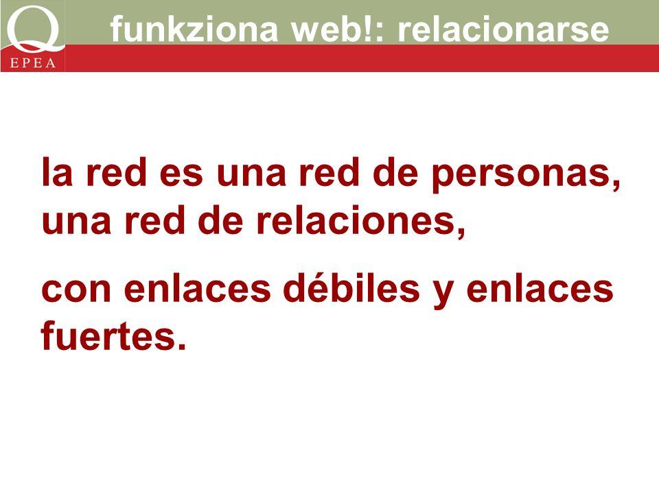 funkziona web!: relacionarse la red es una red de personas, una red de relaciones, con enlaces débiles y enlaces fuertes.