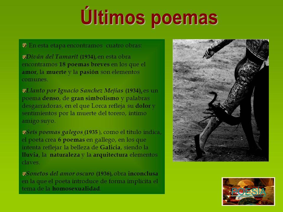 En esta etapa encontramos cuatro obras: Diván del Tamarit (1934), en esta obra encontramos 18 poemas breves en los que el amor, la muerte y la pasión