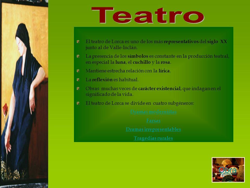 El teatro de Lorca es uno de los más representativos del siglo XX junto al de Valle-Inclán. La presencia de los símbolos es constante en la producción