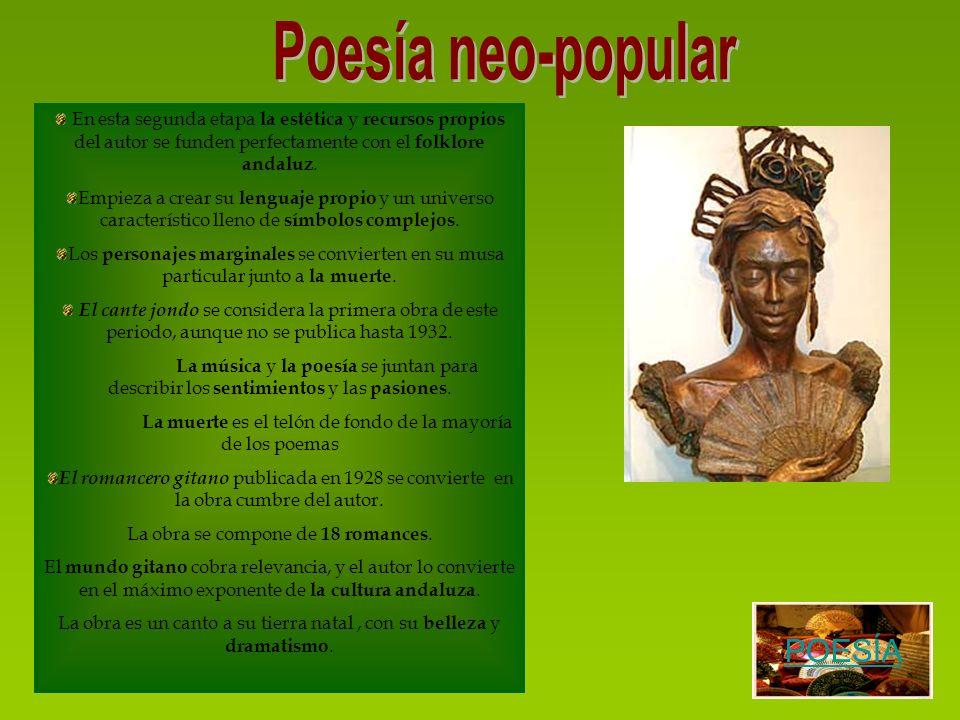 En esta segunda etapa la estética y recursos propios del autor se funden perfectamente con el folklore andaluz. Empieza a crear su lenguaje propio y u