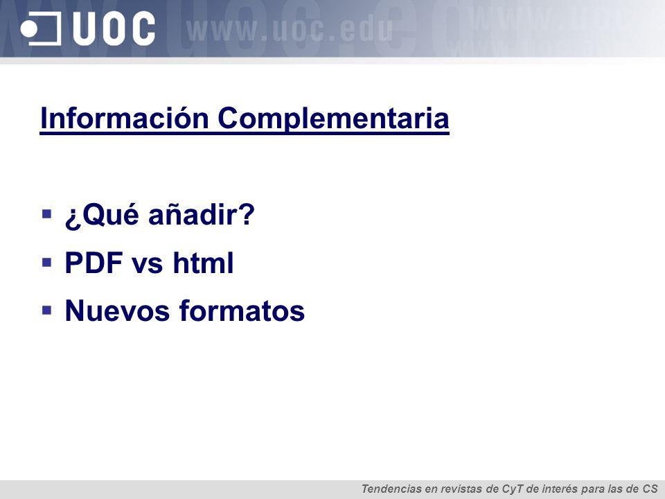 Información Complementaria ¿Qué añadir.