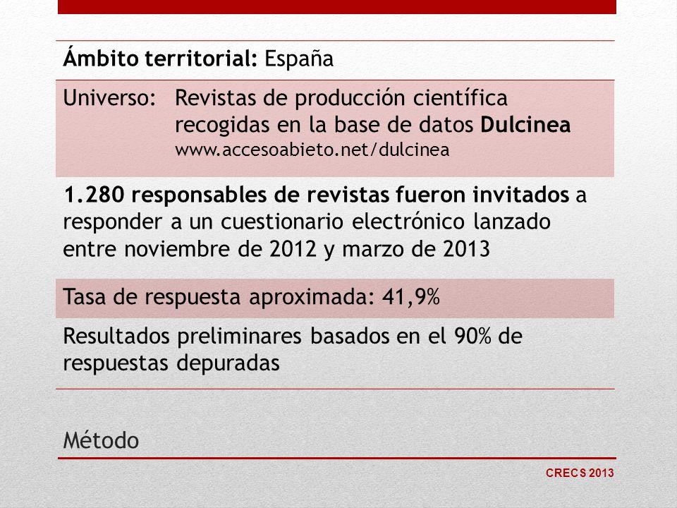 CRECS 2013 Método Ámbito territorial: España Universo:Revistas de producción científica recogidas en la base de datos Dulcinea www.accesoabieto.net/du