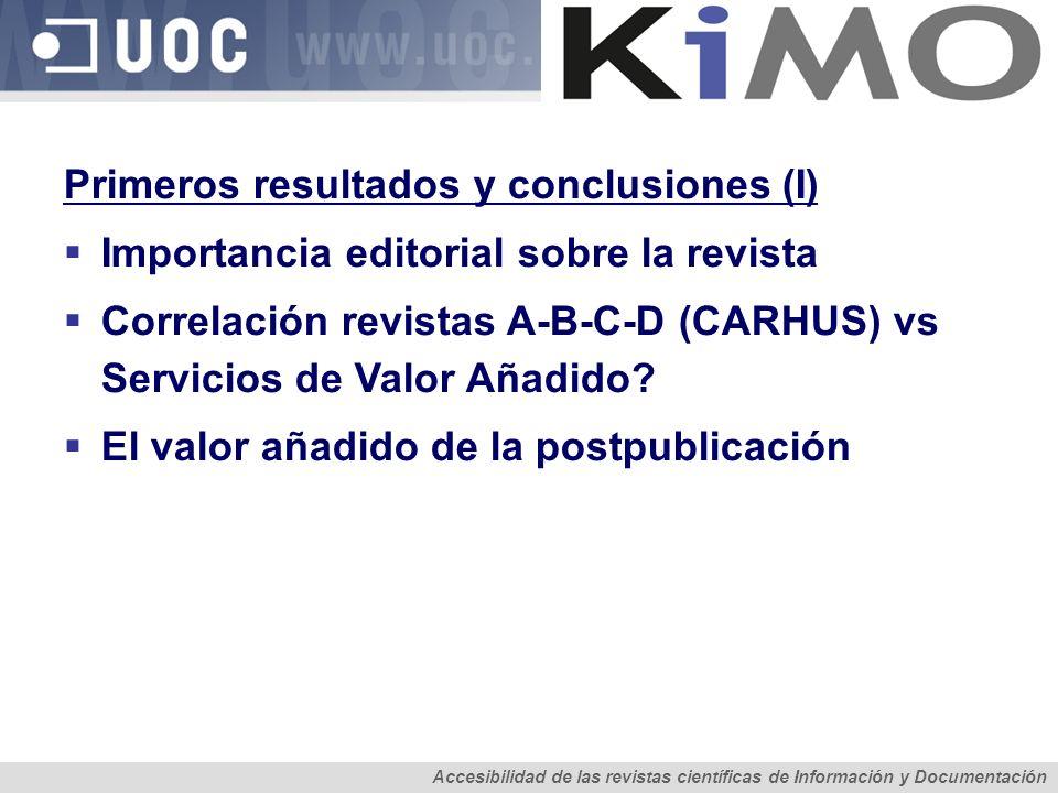 Primeros resultados y conclusiones (I) Importancia editorial sobre la revista Correlación revistas A-B-C-D (CARHUS) vs Servicios de Valor Añadido? El