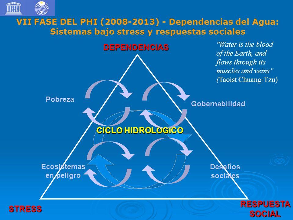 DEPENDENCIAS RESPUESTASOCIAL STRESS CICLO HIDROLOGICO Gobernabilidad Pobreza Ecosistemas en peligro Desafíos sociales