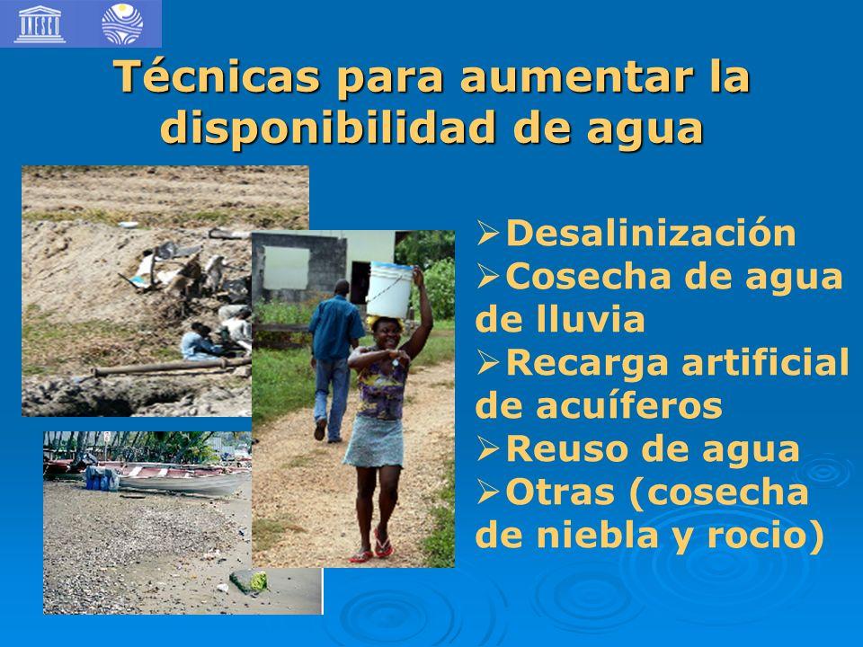 Técnicas para aumentar la disponibilidad de agua Desalinización Cosecha de agua de lluvia Recarga artificial de acuíferos Reuso de agua Otras (cosecha