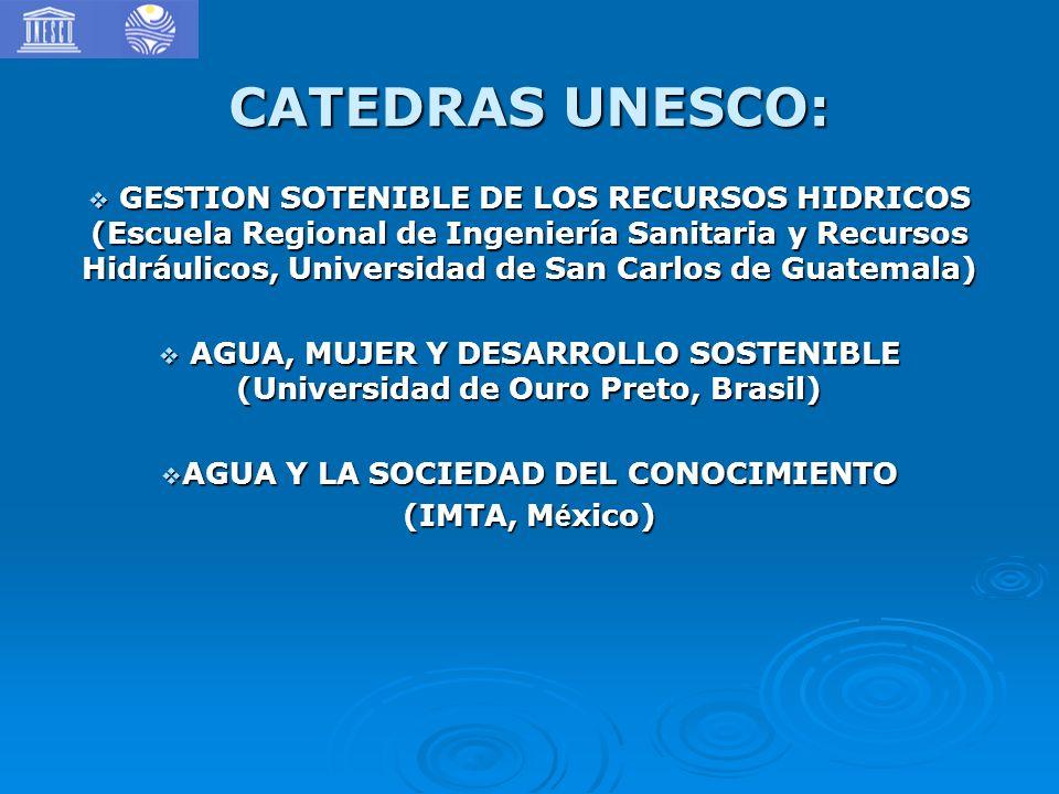 CATEDRAS UNESCO: GESTION SOTENIBLE DE LOS RECURSOS HIDRICOS (Escuela Regional de Ingeniería Sanitaria y Recursos Hidráulicos, Universidad de San Carlo