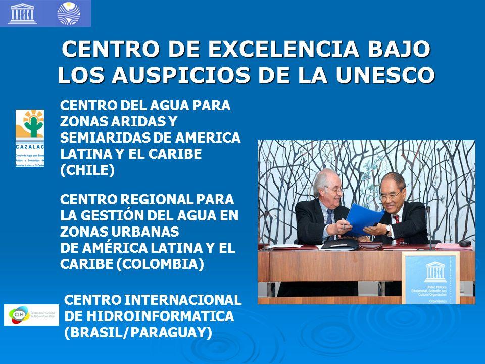 CENTRO DE EXCELENCIA BAJO LOS AUSPICIOS DE LA UNESCO CENTRO DEL AGUA PARA ZONAS ARIDAS Y SEMIARIDAS DE AMERICA LATINA Y EL CARIBE (CHILE) CENTRO REGIO