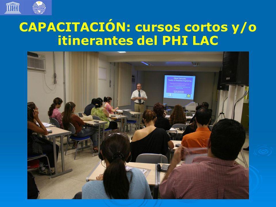 1) CAPACITACIÓN: cursos cortos y/o itinerantes del PHI LAC