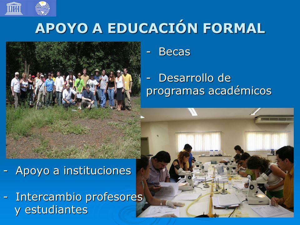 APOYO A EDUCACIÓN FORMAL - Apoyo a instituciones - Intercambio profesores y estudiantes y estudiantes - Becas - Desarrollo de programas académicos