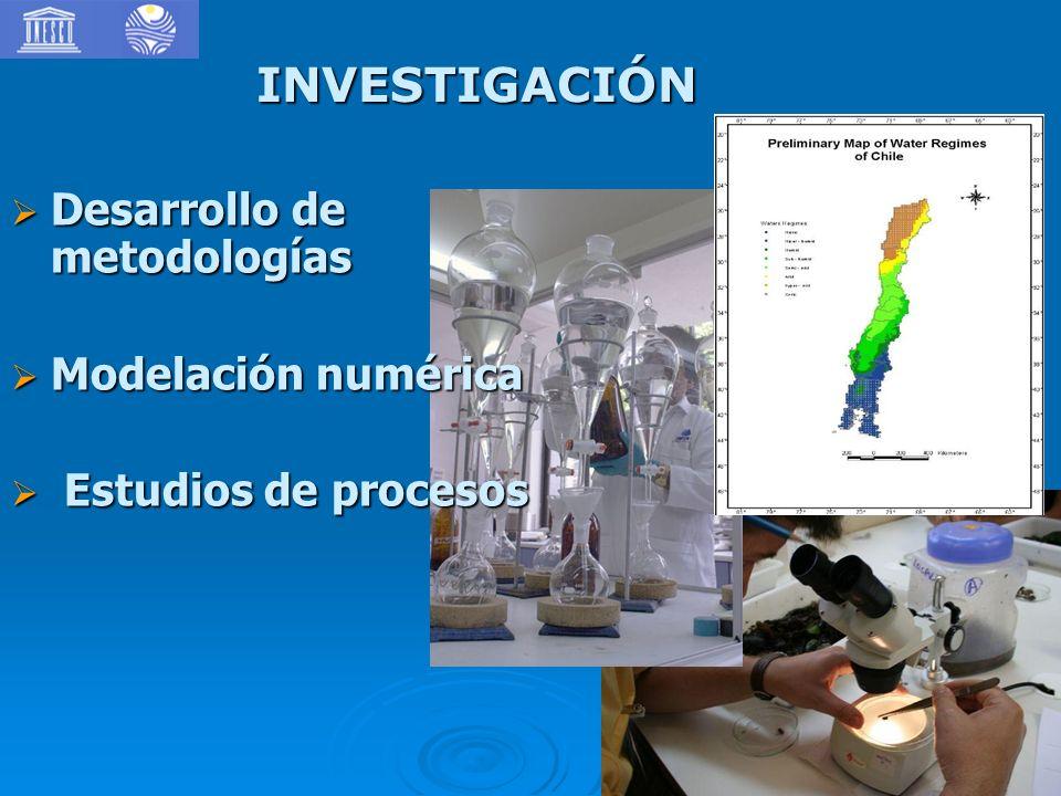 INVESTIGACIÓN Desarrollo de metodologías Desarrollo de metodologías Modelación numérica Modelación numérica Estudios de procesos Estudios de procesos