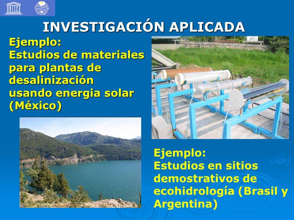 INVESTIGACIÓN APLICADA Ejemplo: Estudios en sitios demostrativos de ecohidrología (Brasil y Argentina) Ejemplo: Estudios de materiales para plantas de