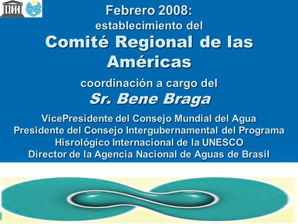 Febrero 2008: establecimiento del Comité Regional de las Américas coordinación a cargo del Sr. Bene Braga VicePresidente del Consejo Mundial del Agua