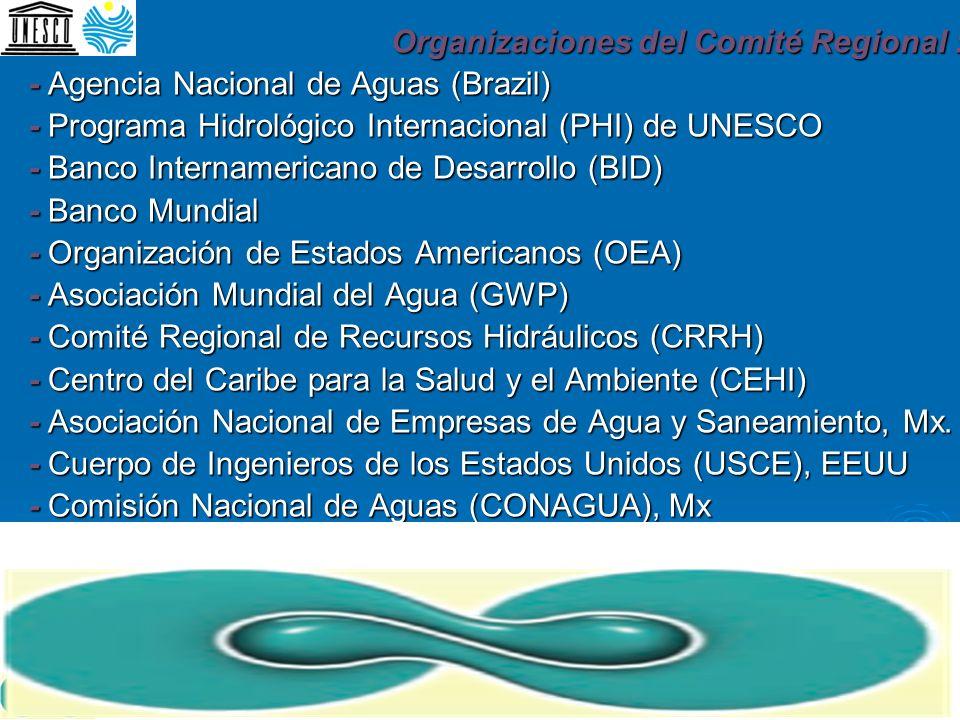 Organizaciones del Comité Regional : - Agencia Nacional de Aguas (Brazil) - Programa Hidrológico Internacional (PHI) de UNESCO - Banco Internamericano