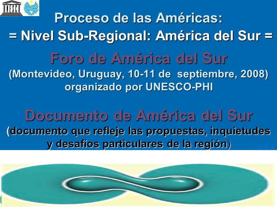 Proceso de las Américas: = Nivel Sub-Regional: América del Sur = Foro de América del Sur (Montevideo, Uruguay, 10-11 de septiembre, 2008) organizado p