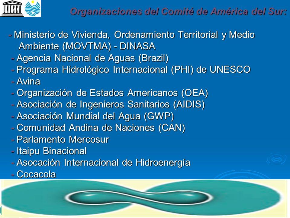 Organizaciones del Comité de América del Sur: - Ministerio de Vivienda, Ordenamiento Territorial y Medio Ambiente (MOVTMA) - DINASA - Agencia Nacional