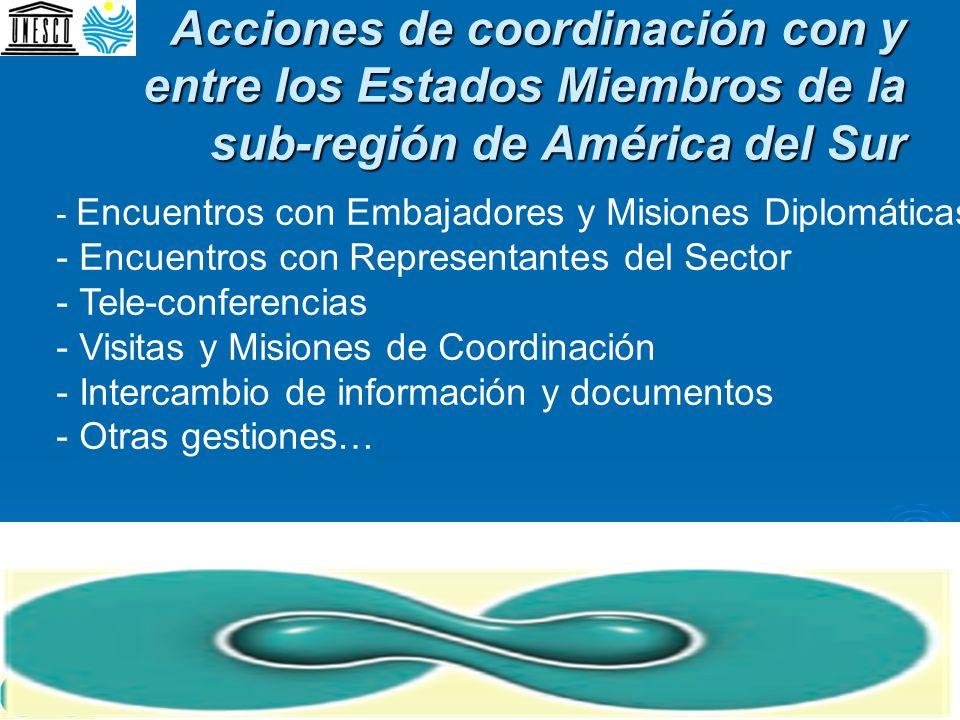 Acciones de coordinación con y entre los Estados Miembros de la sub-región de América del Sur - Encuentros con Embajadores y Misiones Diplomáticas - E
