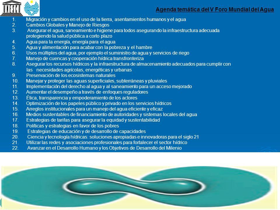 Agenda temática del V Foro Mundial del Agua 1.Migración y cambios en el uso de la tierra, asentamientos humanos y el agua 2.Cambios Globales y Manejo