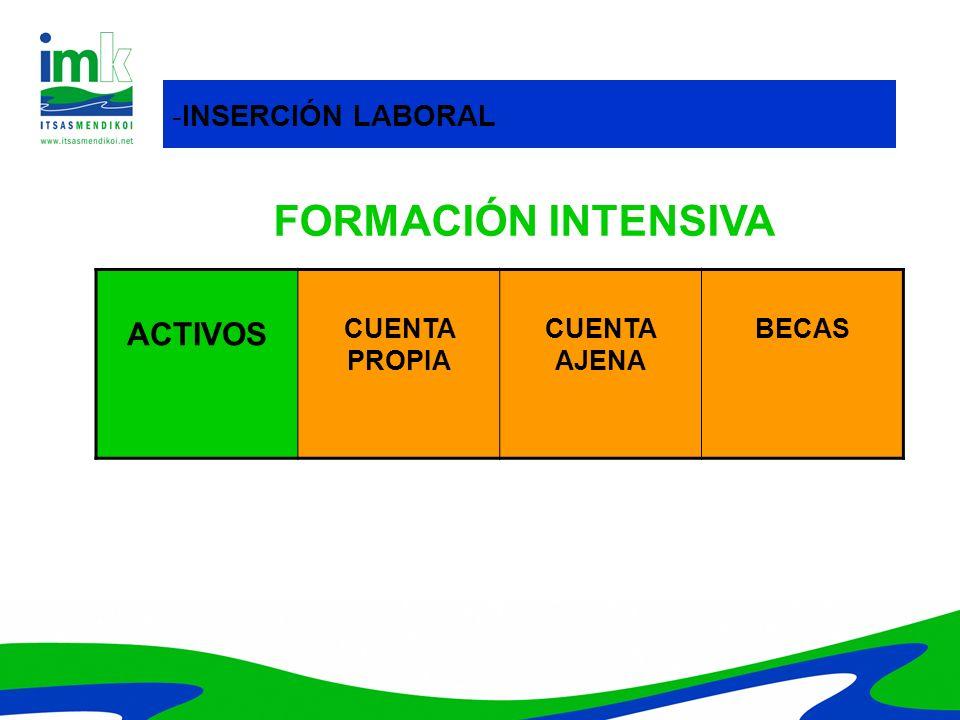 ACTIVOS CUENTA PROPIA CUENTA AJENA BECAS -INSERCIÓN LABORAL FORMACIÓN INTENSIVA