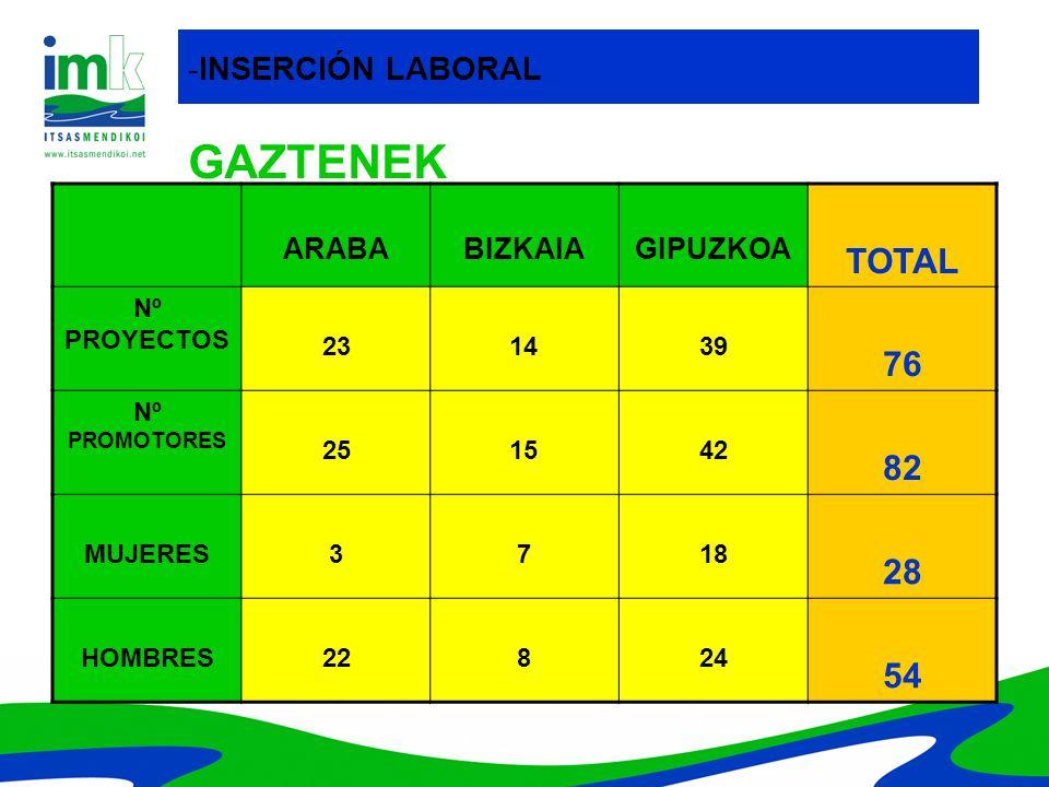 GAZTENEK ARABABIZKAIAGIPUZKOA TOTAL Nº PROYECTOS 231439 76 Nº PROMOTORES 251542 82 MUJERES3718 28 HOMBRES22824 54 -INSERCIÓN LABORAL