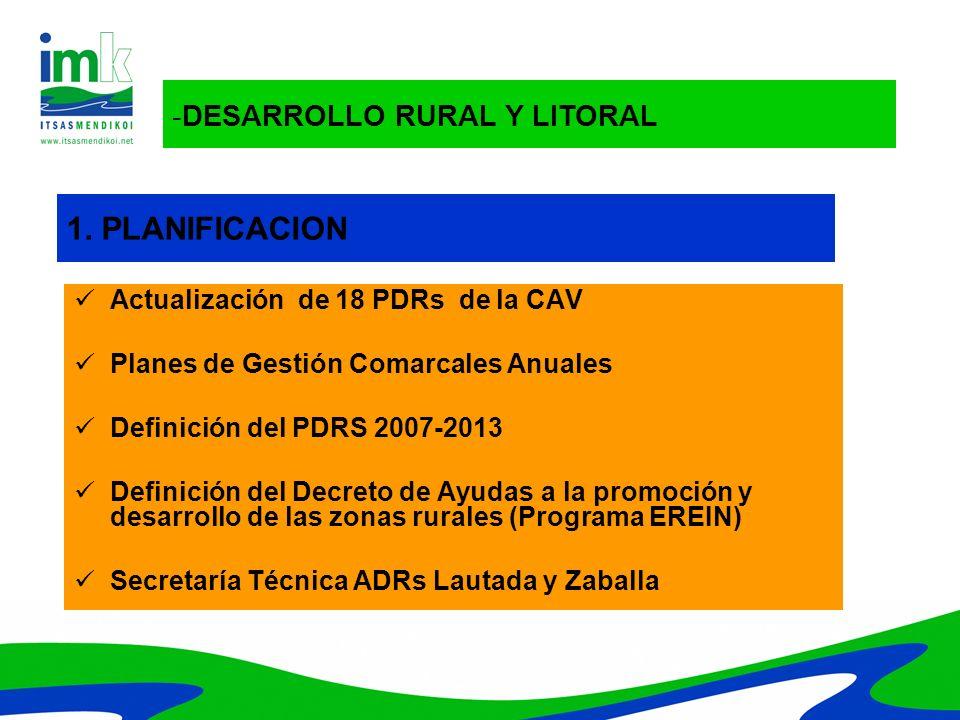 -DESARROLLO RURAL Y LITORAL 1. PLANIFICACION Actualización de 18 PDRs de la CAV Planes de Gestión Comarcales Anuales Definición del PDRS 2007-2013 Def
