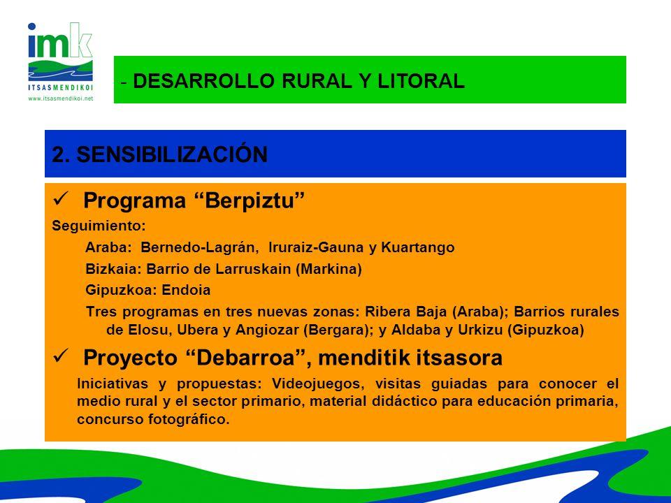 - DESARROLLO RURAL Y LITORAL 2. SENSIBILIZACIÓN Programa Berpiztu Seguimiento: Araba: Bernedo-Lagrán, Iruraiz-Gauna y Kuartango Bizkaia: Barrio de Lar
