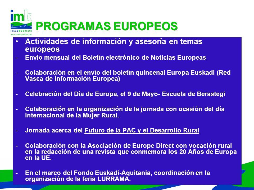 Actividades de información y asesoría en temas europeos -Envío mensual del Boletín electrónico de Noticias Europeas -Colaboración en el envío del bole