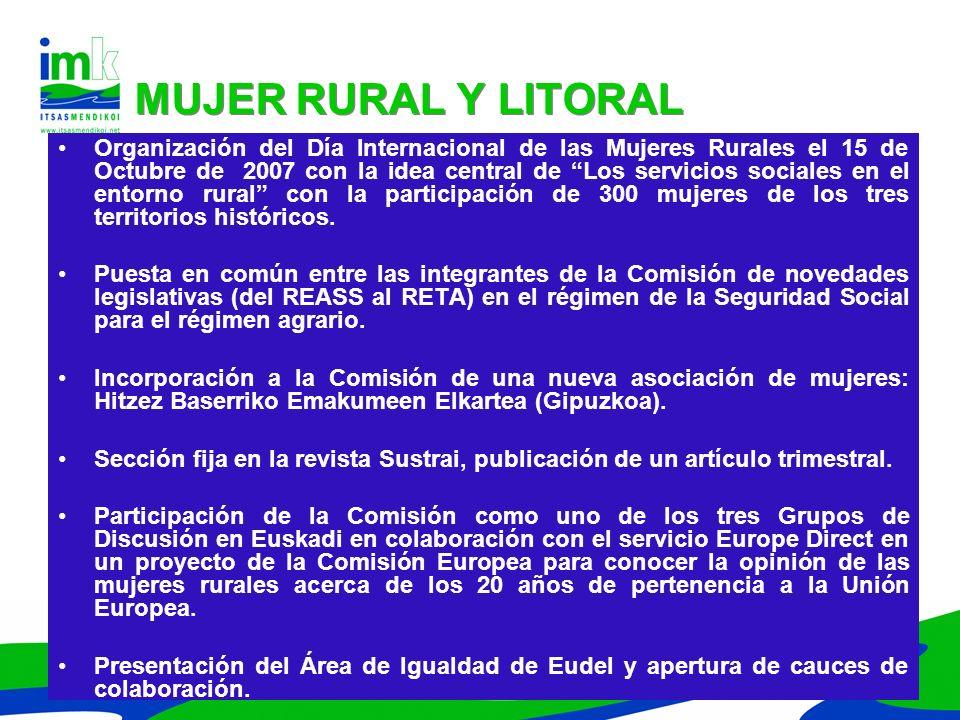 Organización del Día Internacional de las Mujeres Rurales el 15 de Octubre de 2007 con la idea central de Los servicios sociales en el entorno rural c