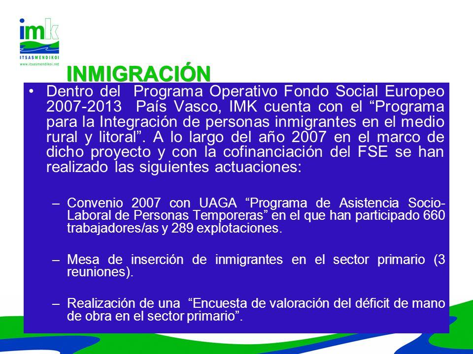 Dentro del Programa Operativo Fondo Social Europeo 2007-2013 País Vasco, IMK cuenta con el Programa para la Integración de personas inmigrantes en el