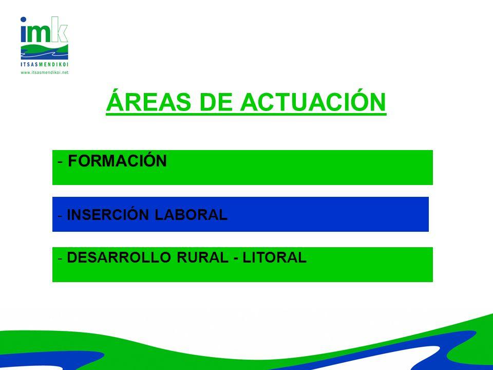 ÁREAS DE ACTUACIÓN - FORMACIÓN - INSERCIÓN LABORAL - DESARROLLO RURAL - LITORAL